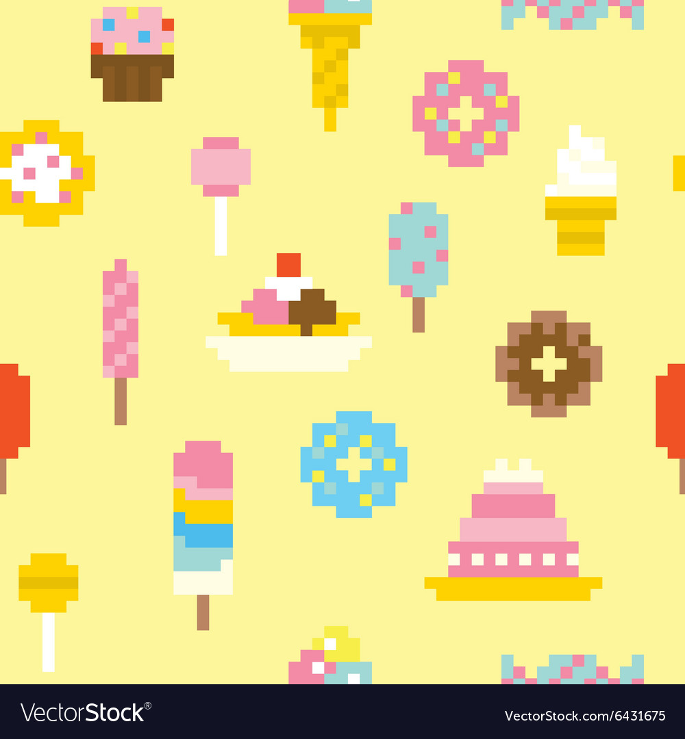 Pixel art sweets seamless pattern vector image