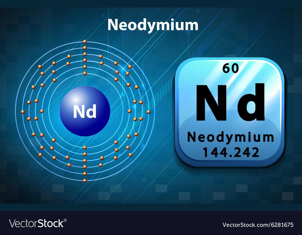 Symbol And Electron Diagram For Neodymium Vector Image