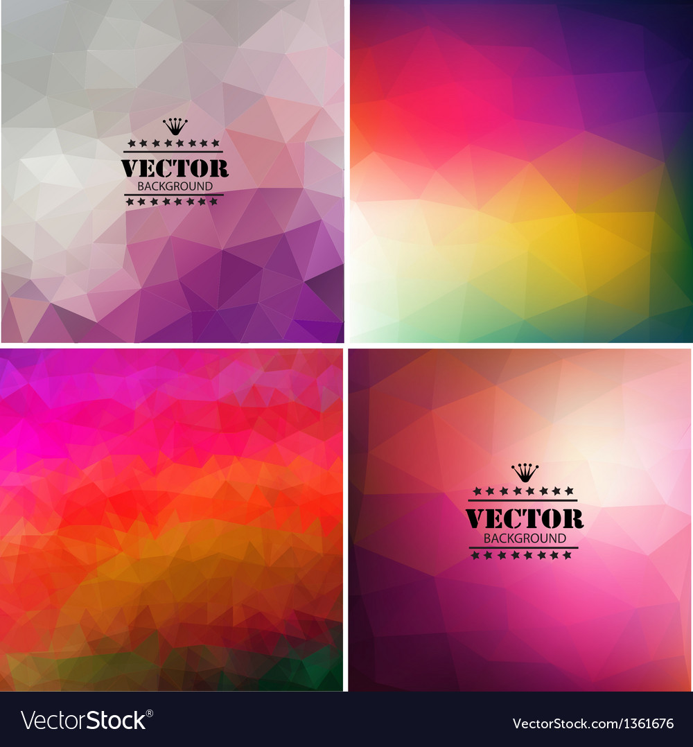 Set of four colorful abstract geometric background vector image