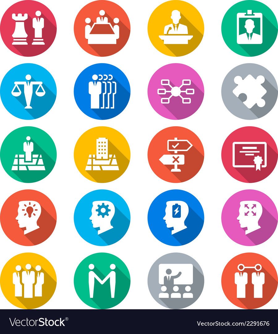 Business flat color icons vector image