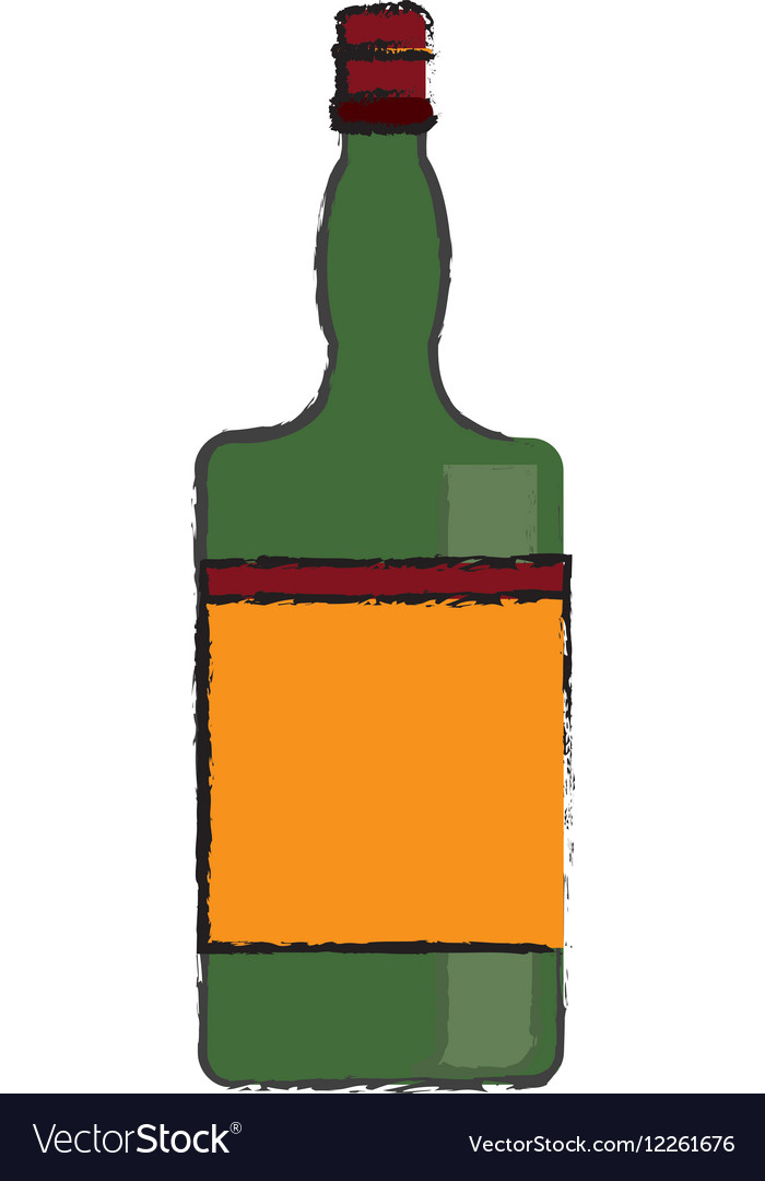 Drawing green bottle whiskey expensive liquor vector image