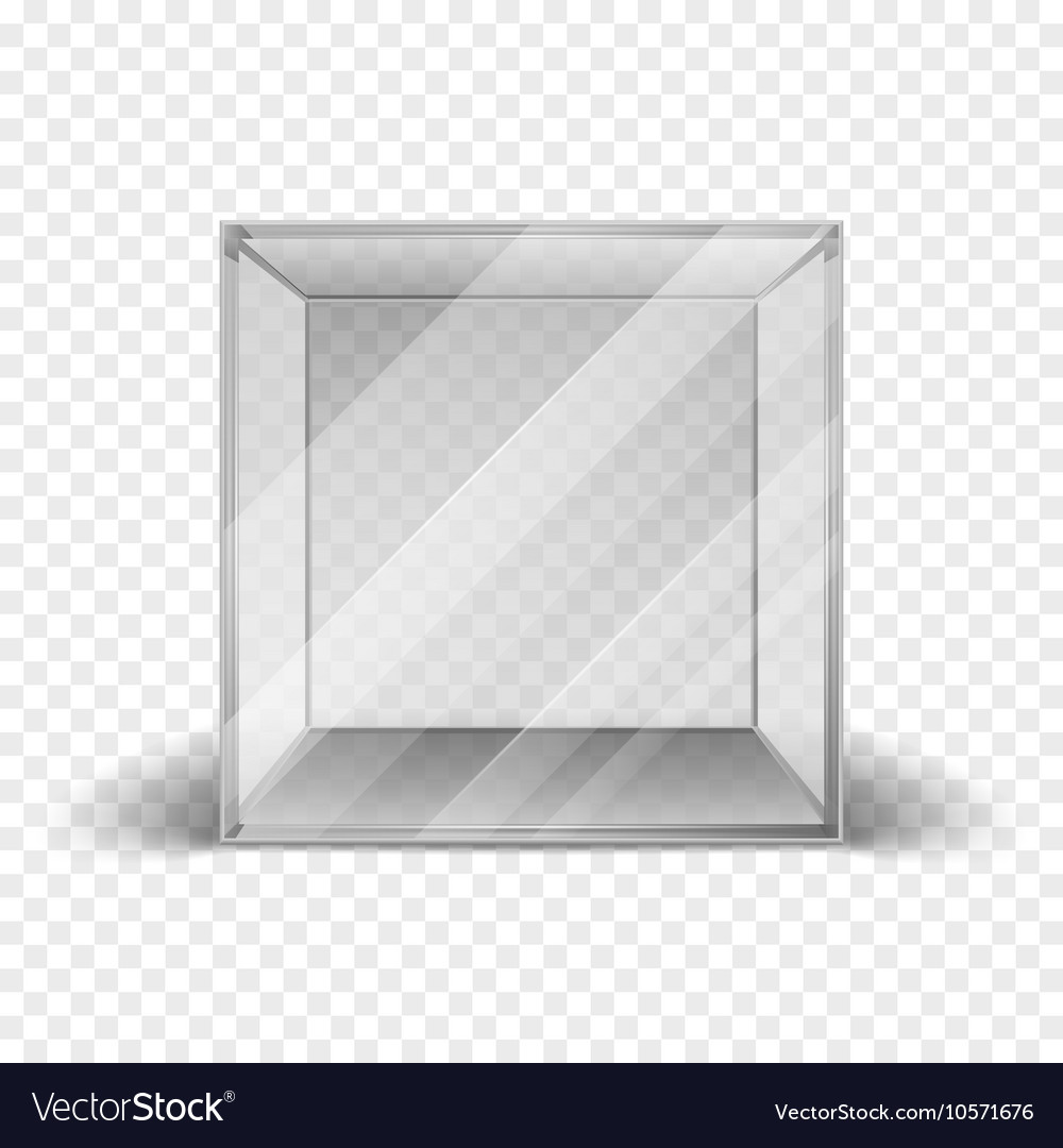 Empty clean glass box cube showcase isolated on vector image