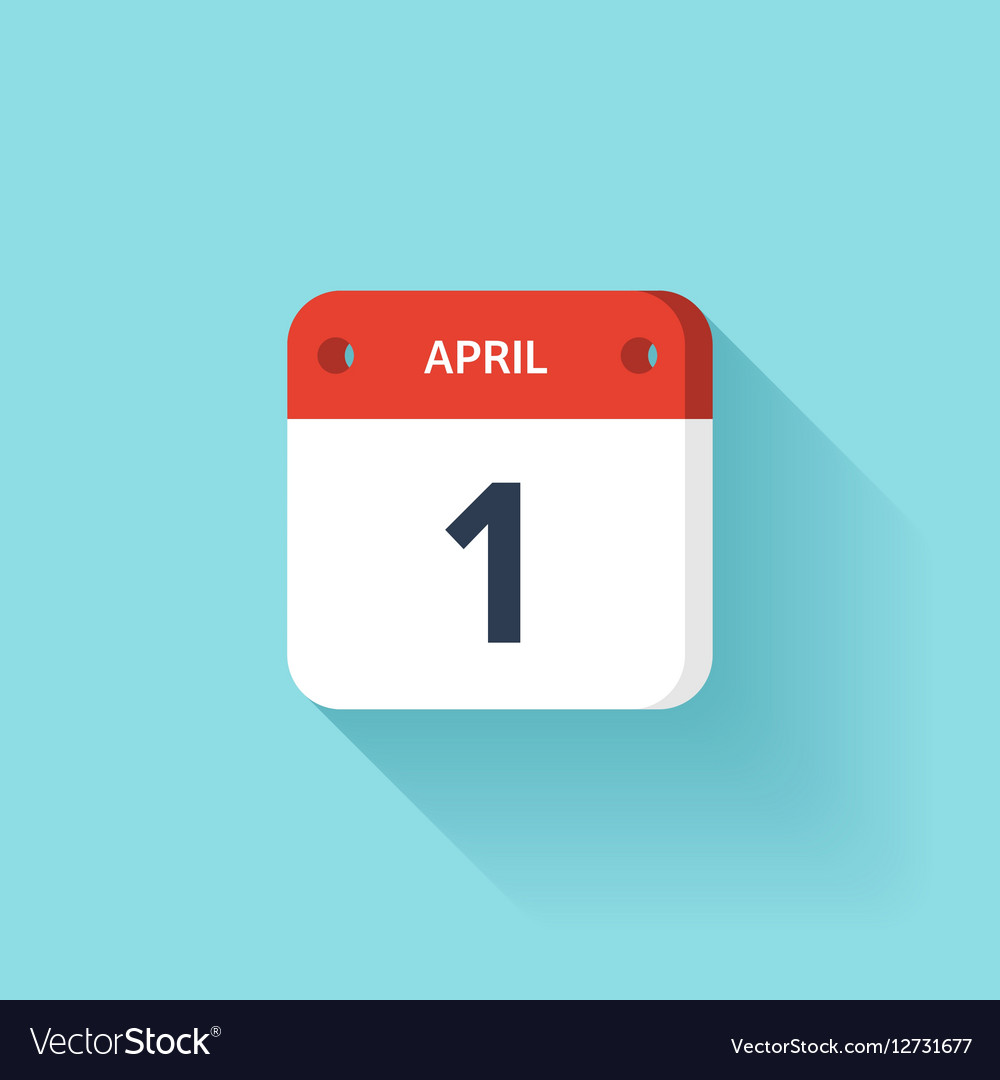 April 1 Isometric Calendar Icon With Shadow vector image