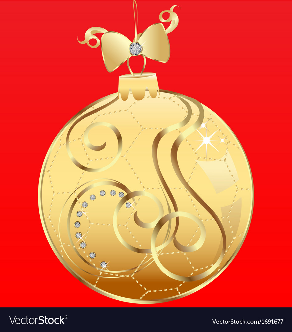 Ball Christmas and ribbon vector image