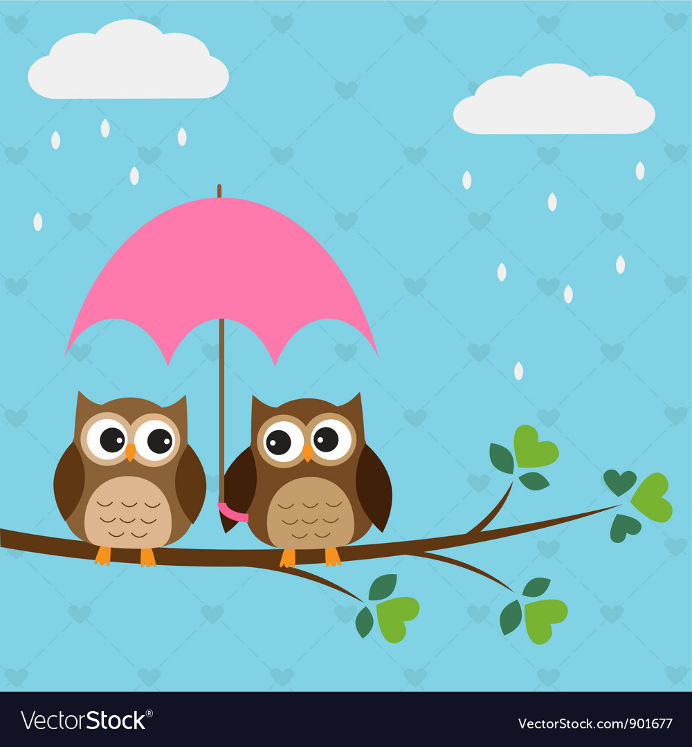 Owls couple under umbrella vector image