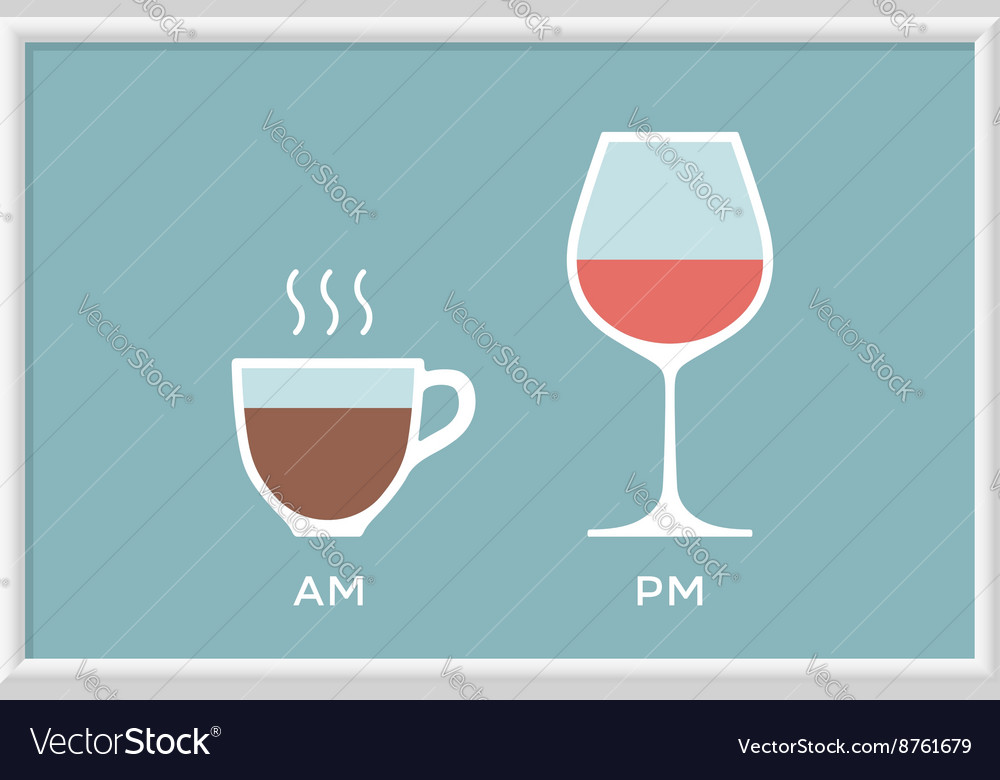 Cup coffee and glass wine in cafe with symbol vector image