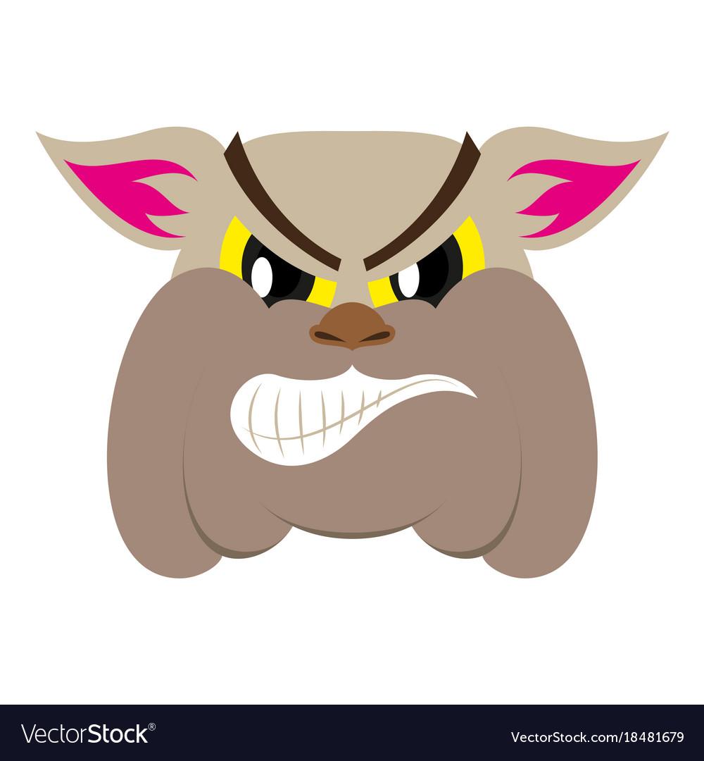 Flat icon on theme angry bulldog animal