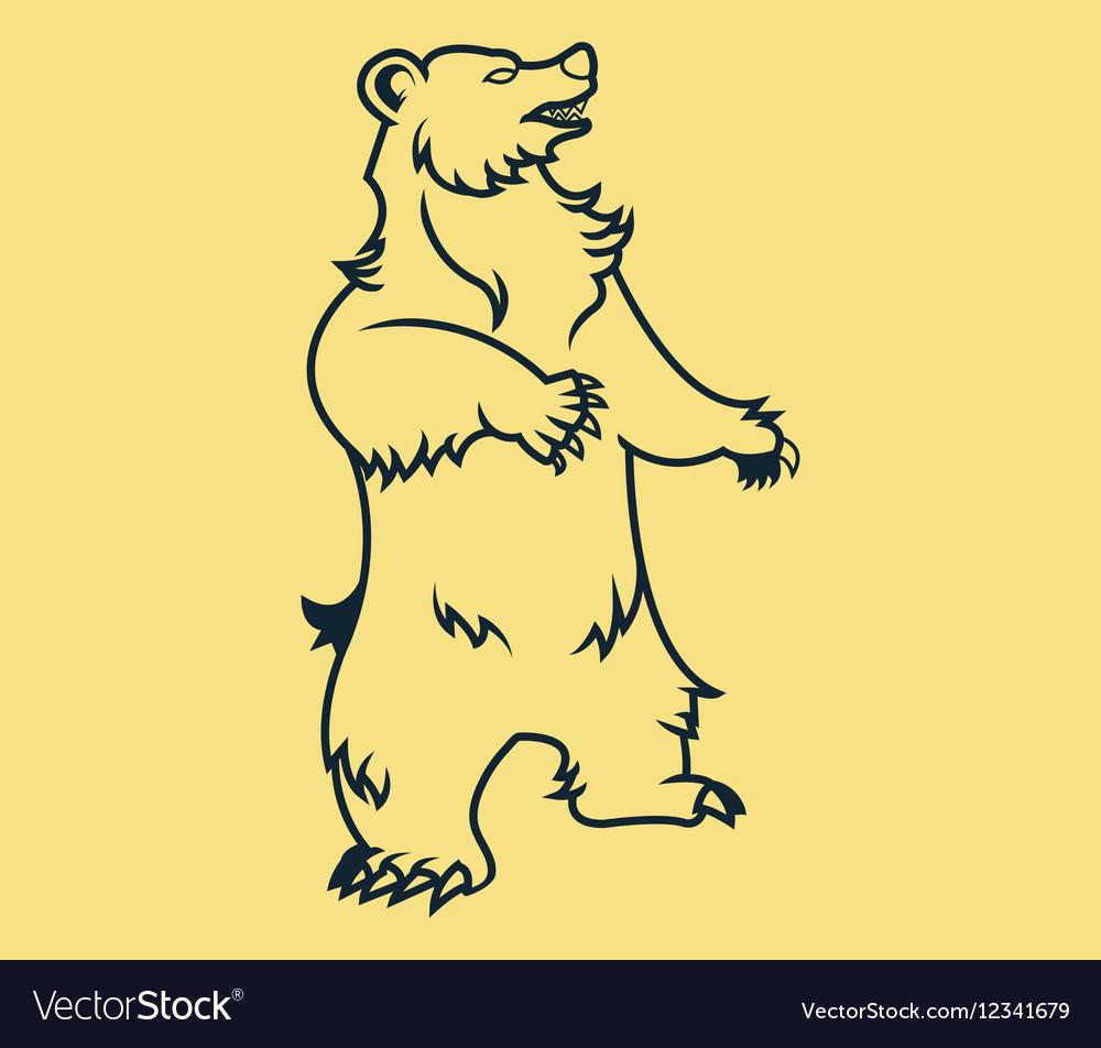 Standing Bear Line Art vector image