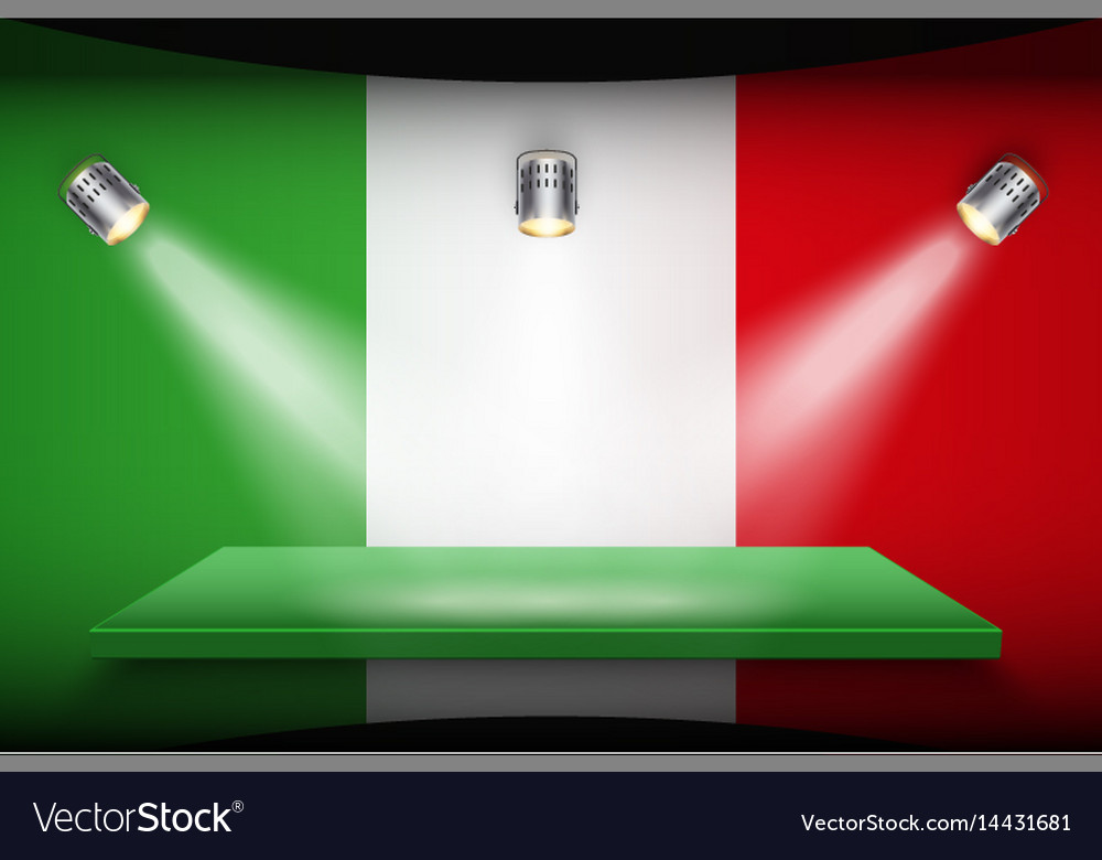 Flag of italy and platform with spotlights vector image