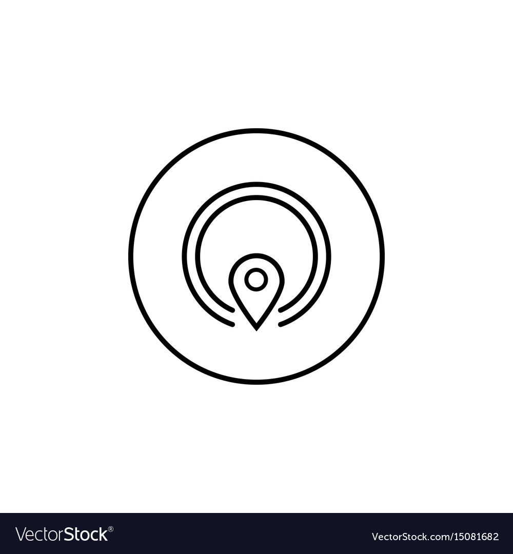 Gps line icon mobile sign and map pointer vector image