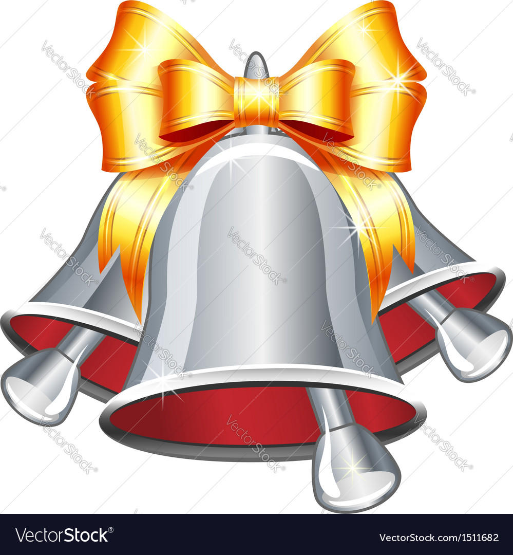 Silver jingle bells with gold bow vector image