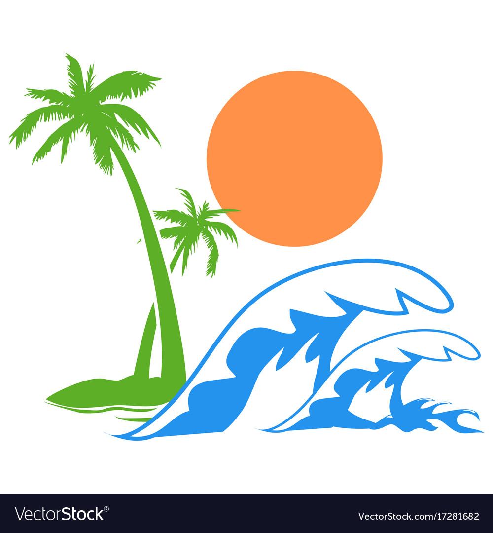 Sunny palm tree wave logo vector image