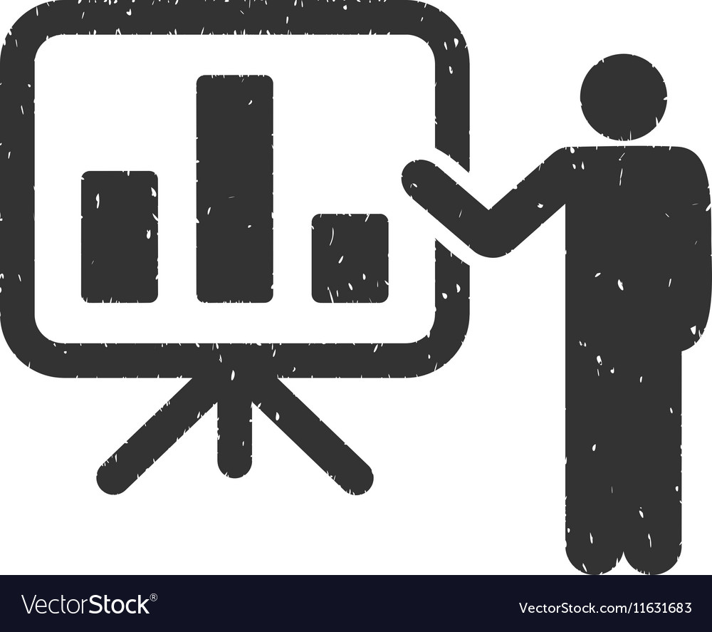 Bar Chart Presentation Icon Rubber Stamp vector image