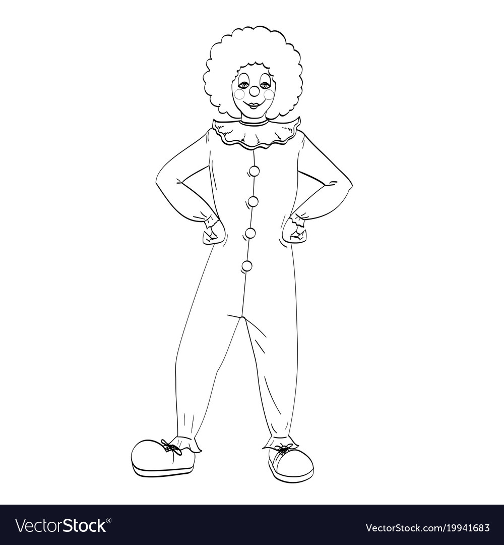 Coloring bookclown theater circus a vector image