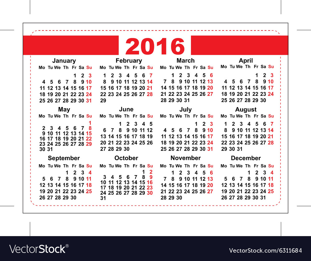 Grid pocket calendar 2018 Royalty Free Vector Image