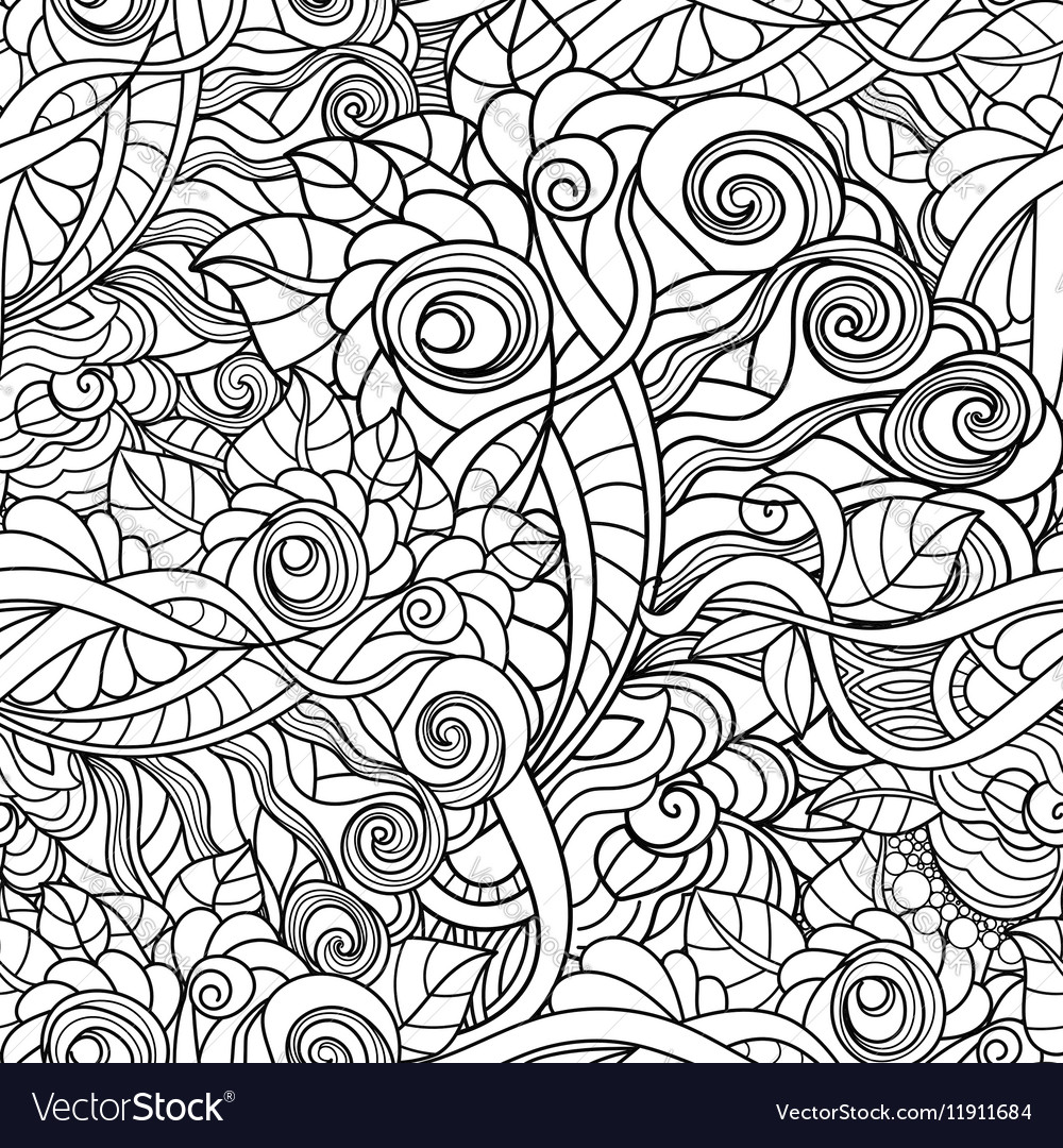 Black and white seamlesspattern in a zentangle vector image