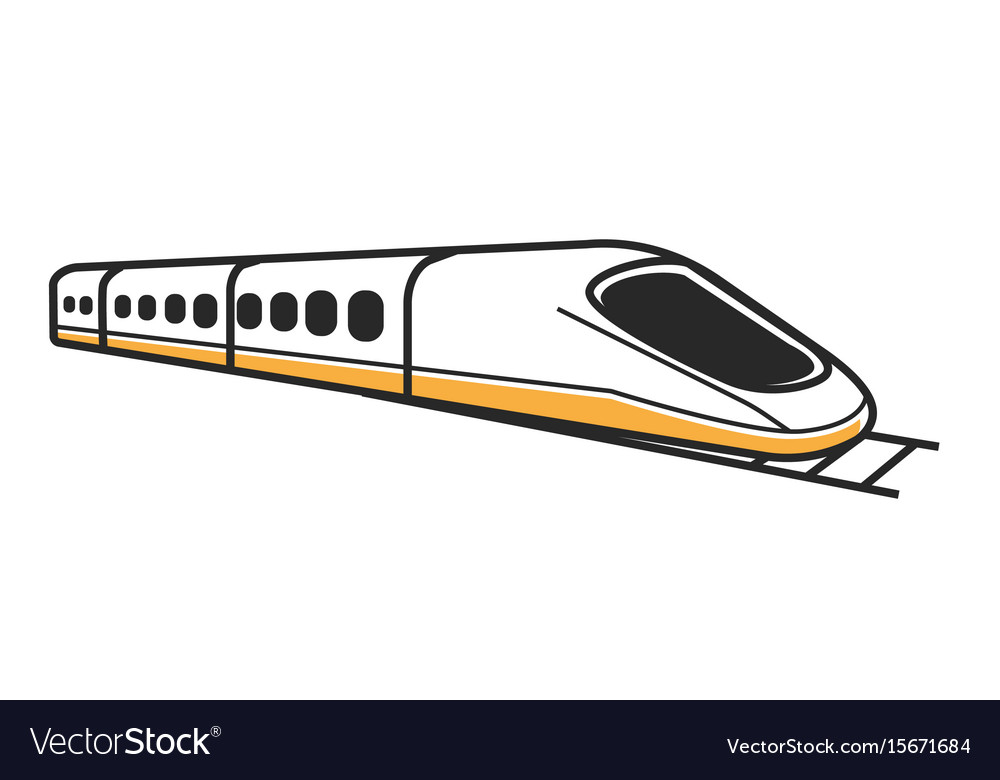 Japanese white modern high-speed train isolated vector image