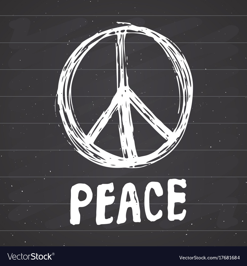 Peace symbol hand drawn grunge hippie or pacifist vector image biocorpaavc Images