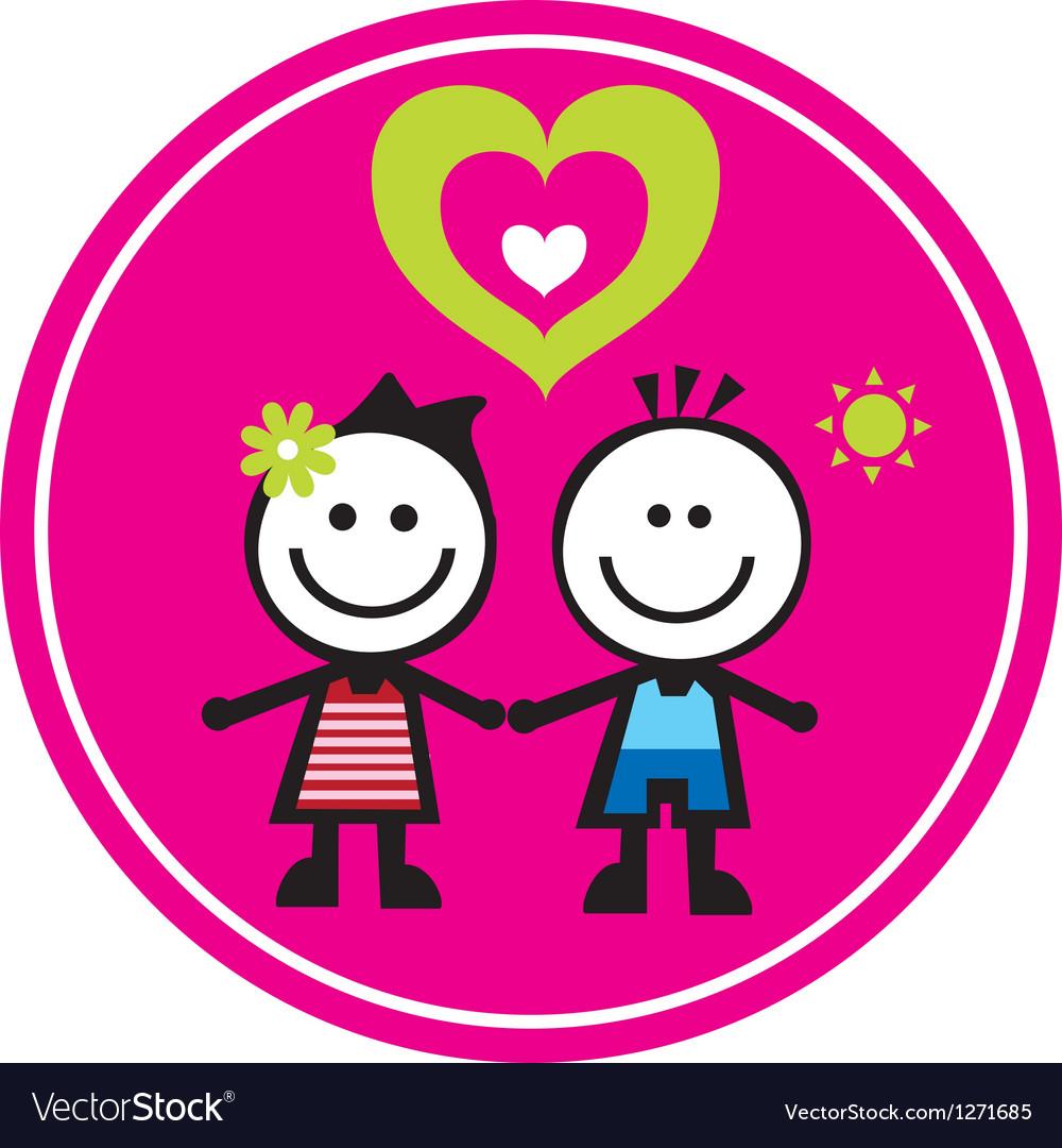 Happy family sticker vector image