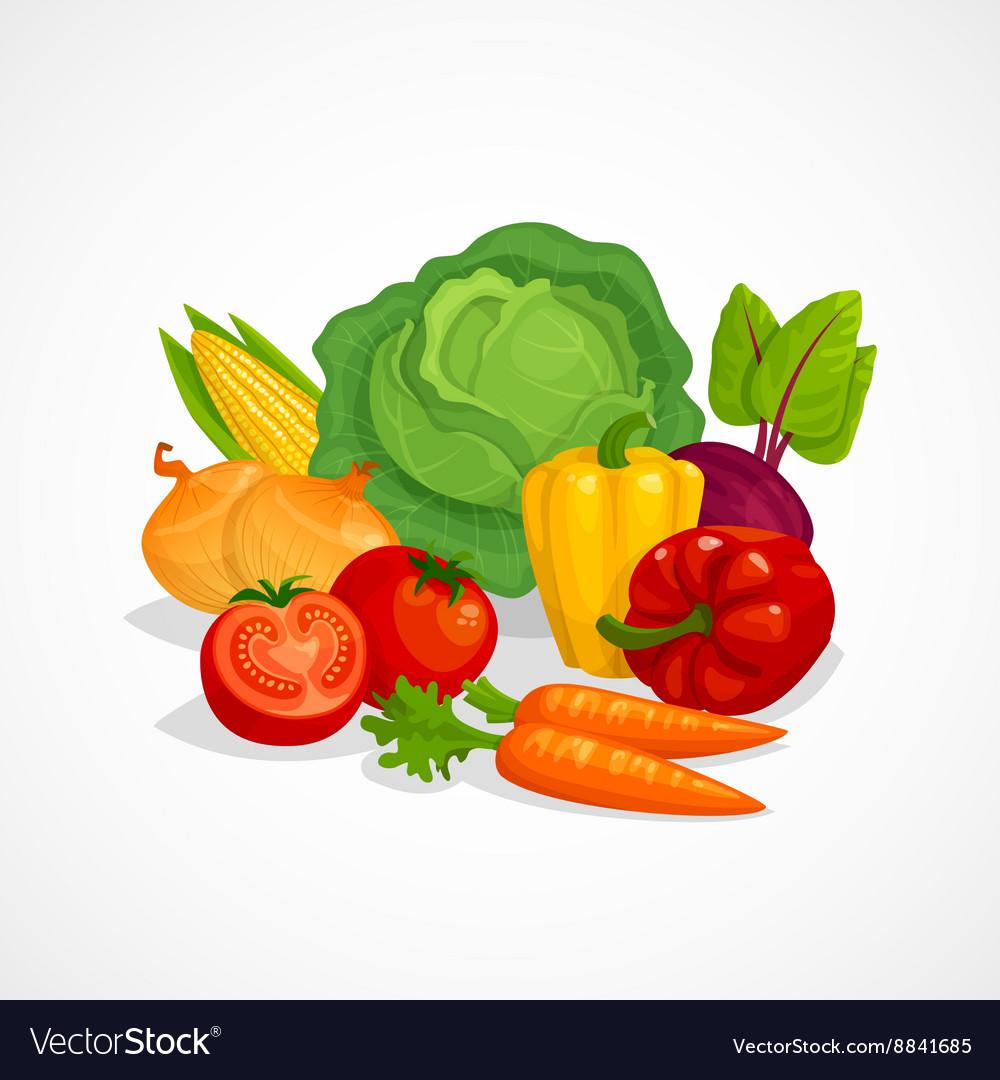Fresh healthy vegetables composition Cartoon vector image