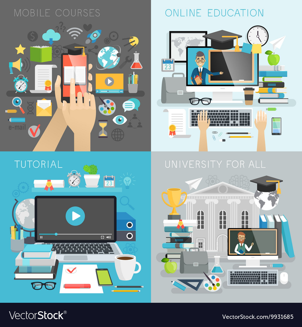 Online Education tutorial university for all and vector image
