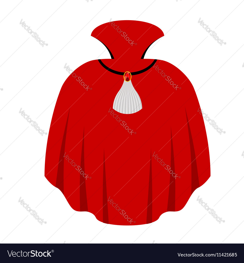 Red cape Dracula isolated mantle Vampire white vector image
