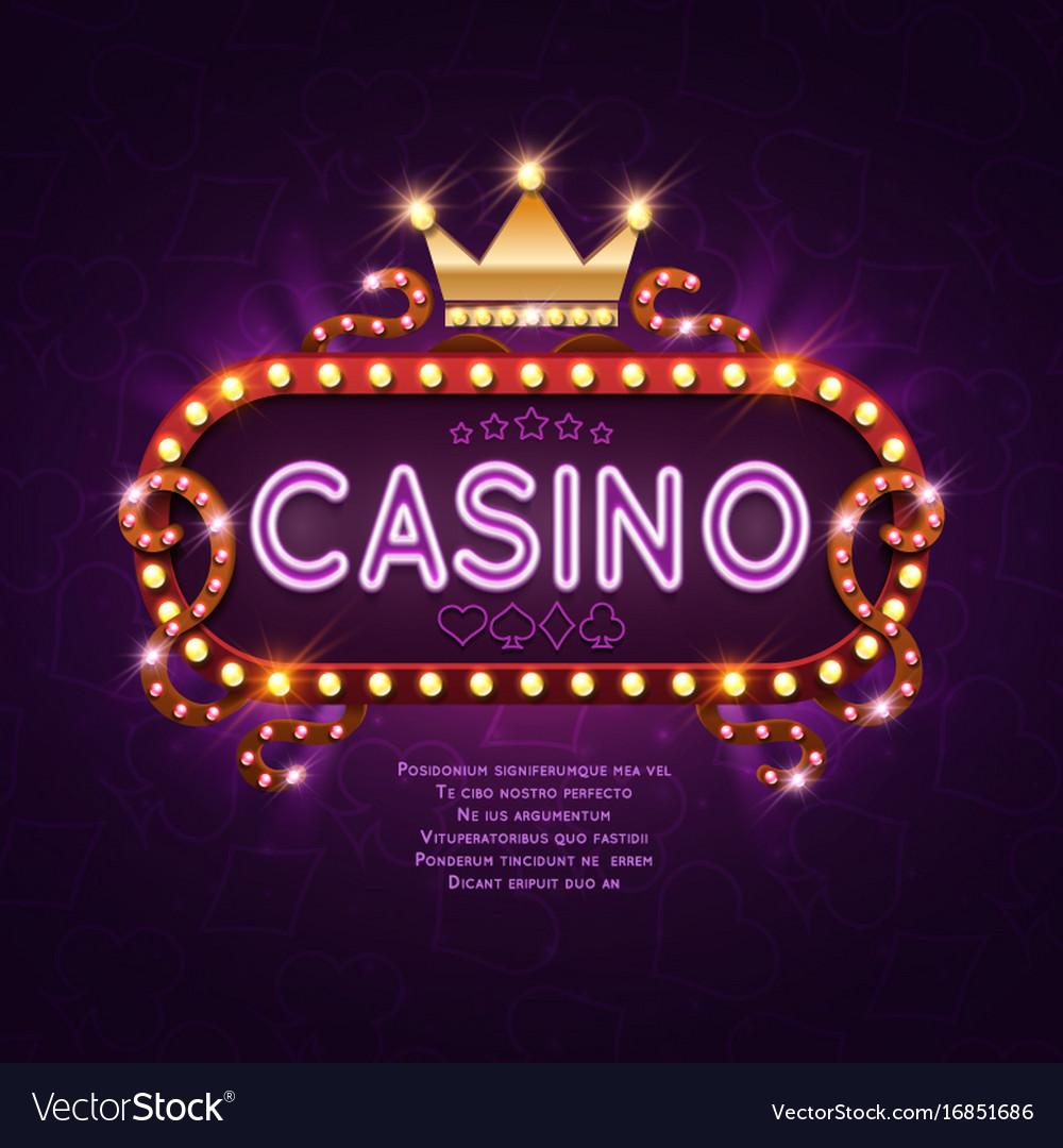 Vegas casino retro light sign for game background vector image