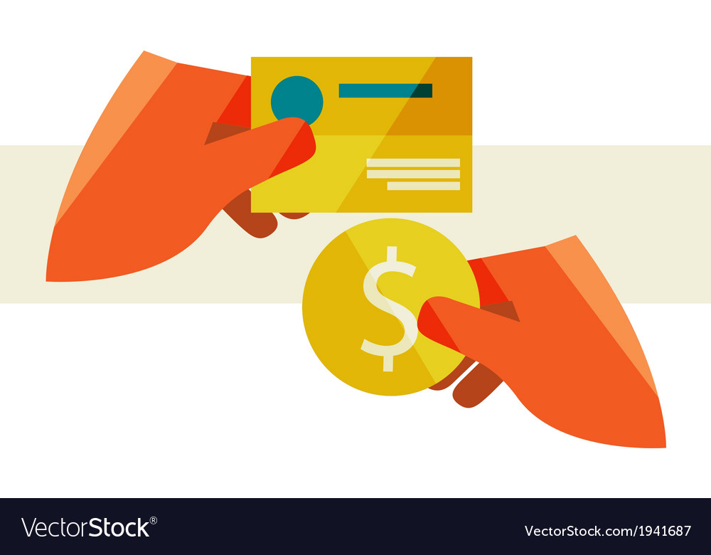 Hand holding a business card and a coin Royalty Free Vector