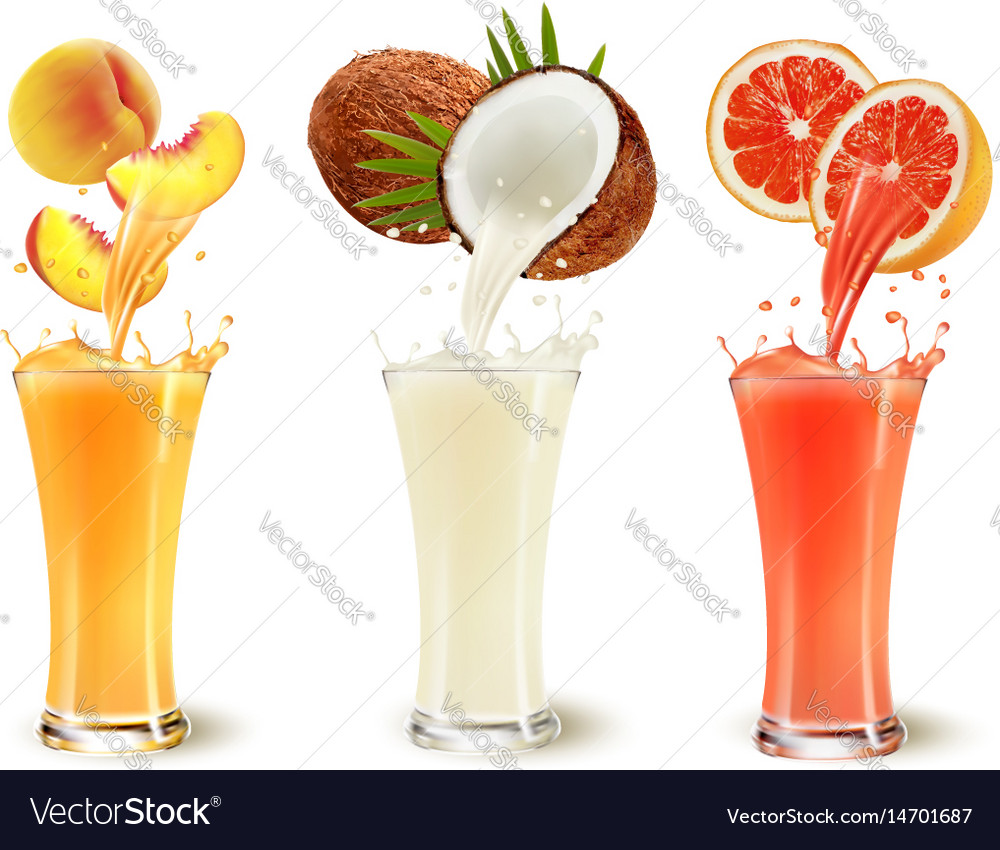 Set of fruit juice splash in a glass peach vector image