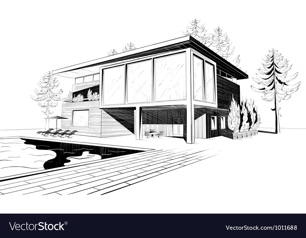 Background with modern house with swimming pool vector image