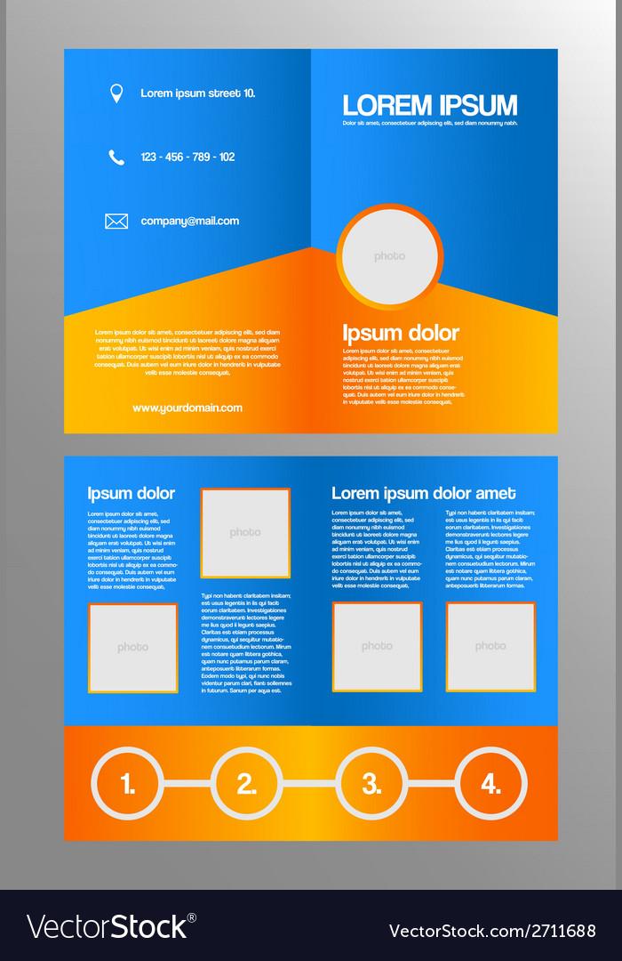 Bifold business brochure template vector image