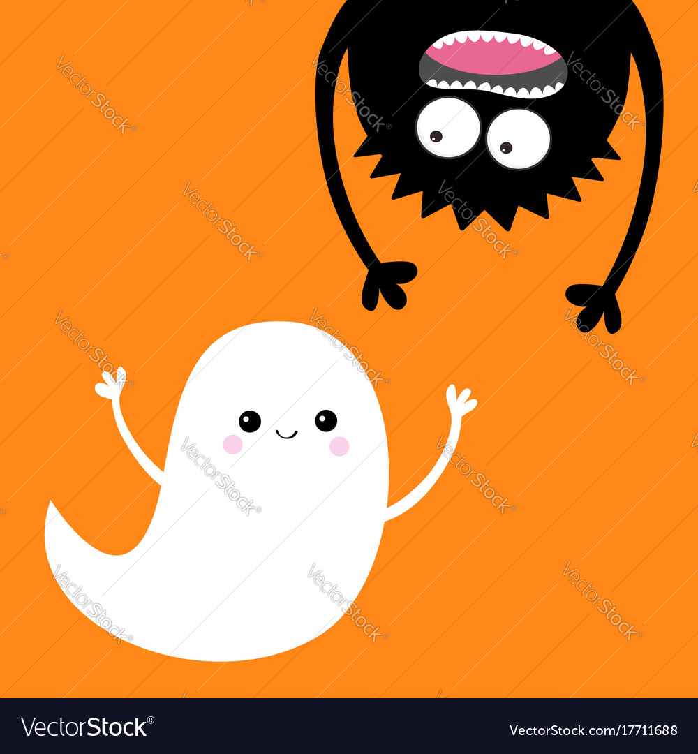Happy halloween card flying ghost spirit monster Vector Image