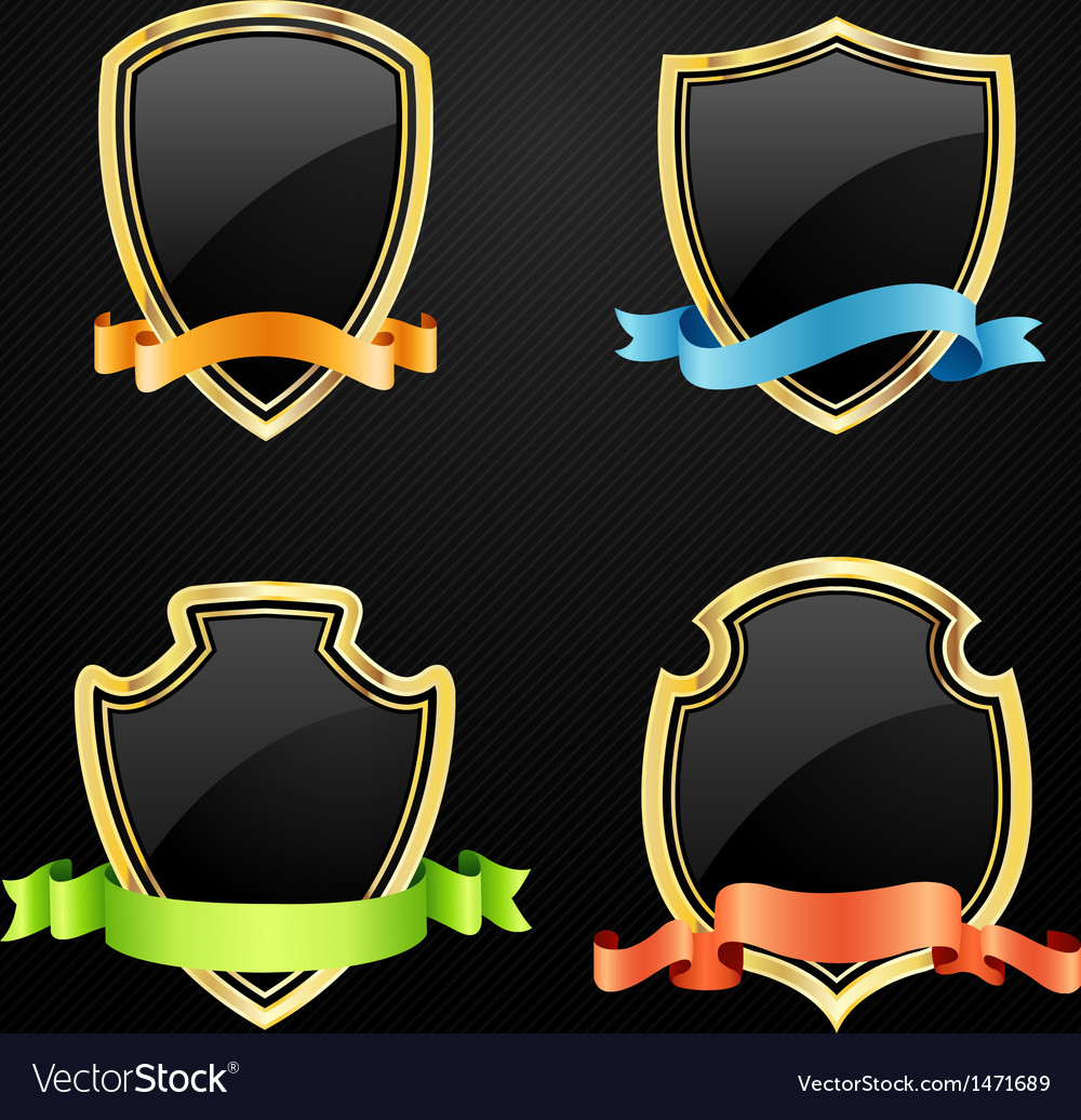 Gold and black shield with ribbon Vector Image