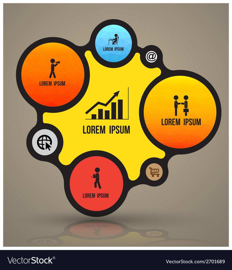 Circle number options with flat icons vector image