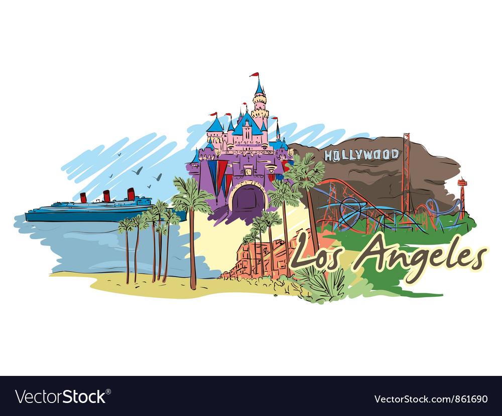 Los angeles doodles vector image