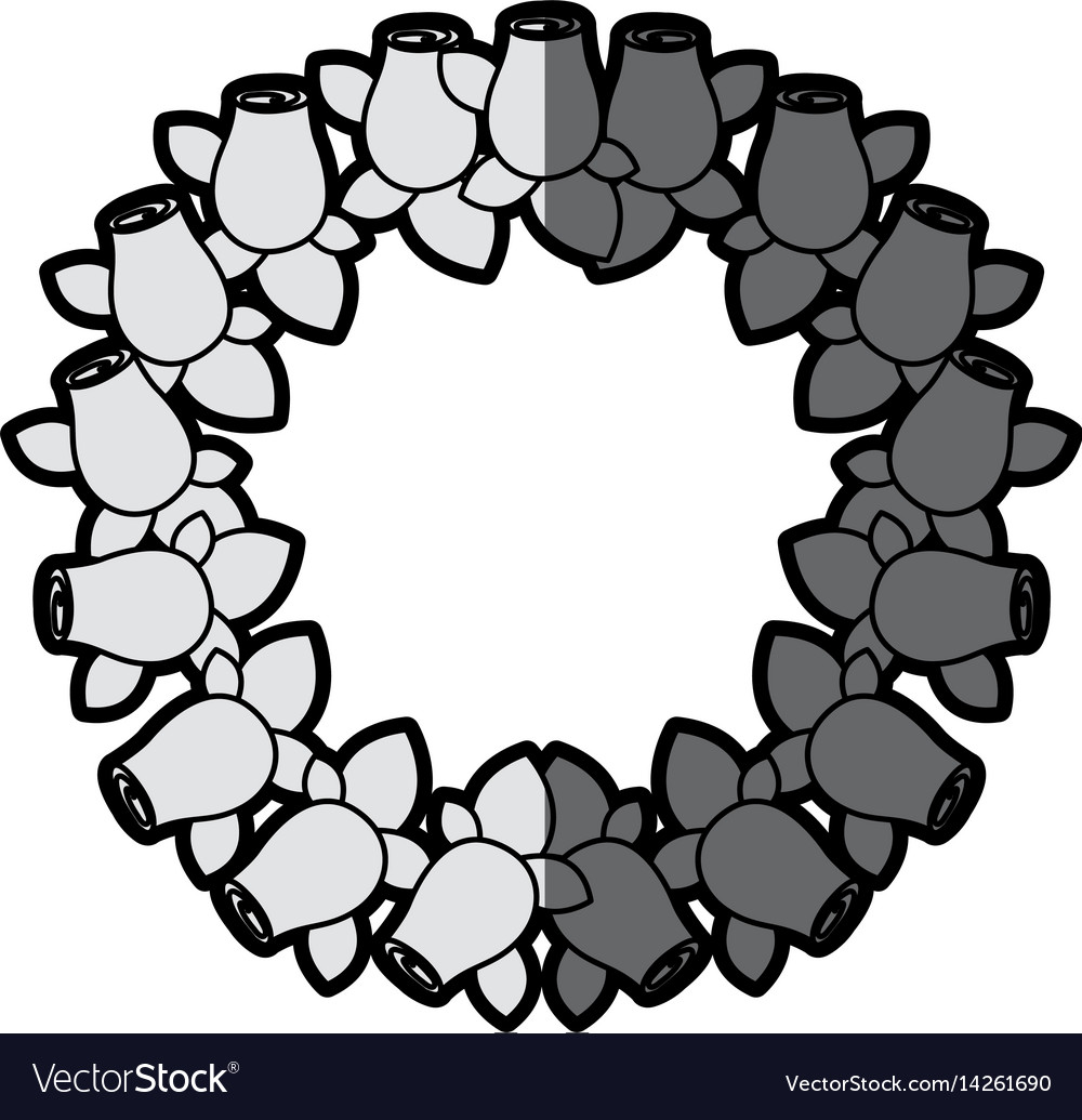 Gray scale silhouette crown drawing rosebuds with vector image