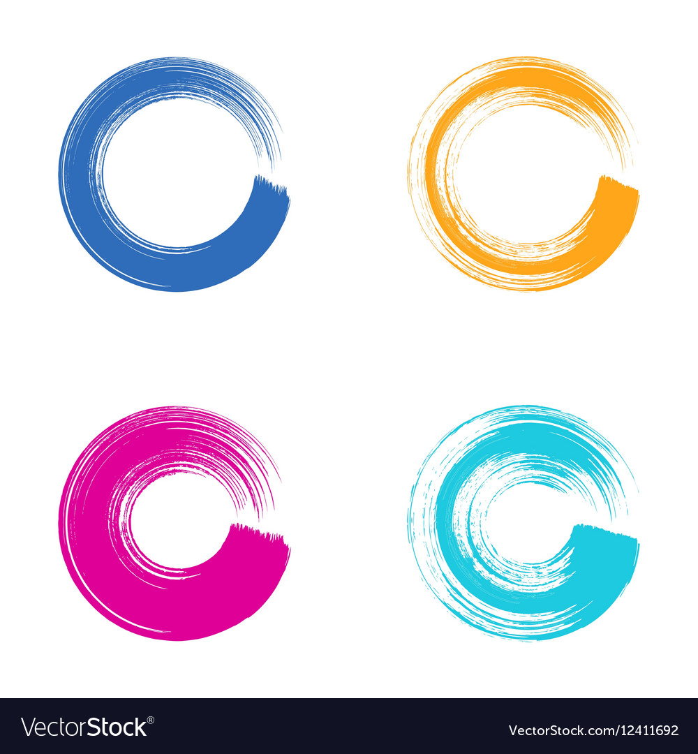 Colorful circle brush strokes vector image