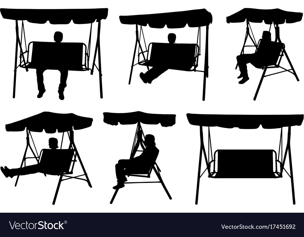 Set of different garden swings with people vector image