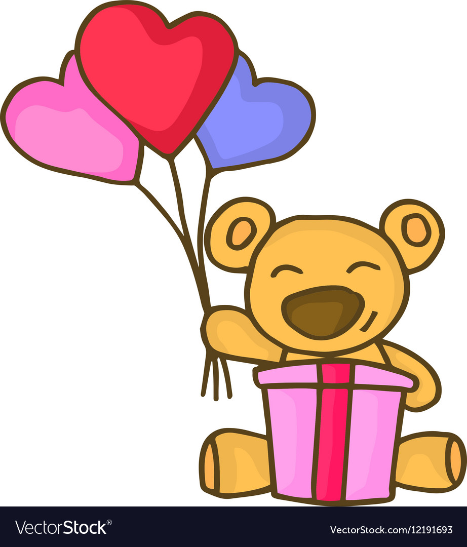 Bear With Love Balloon Character Valentine Vector Image