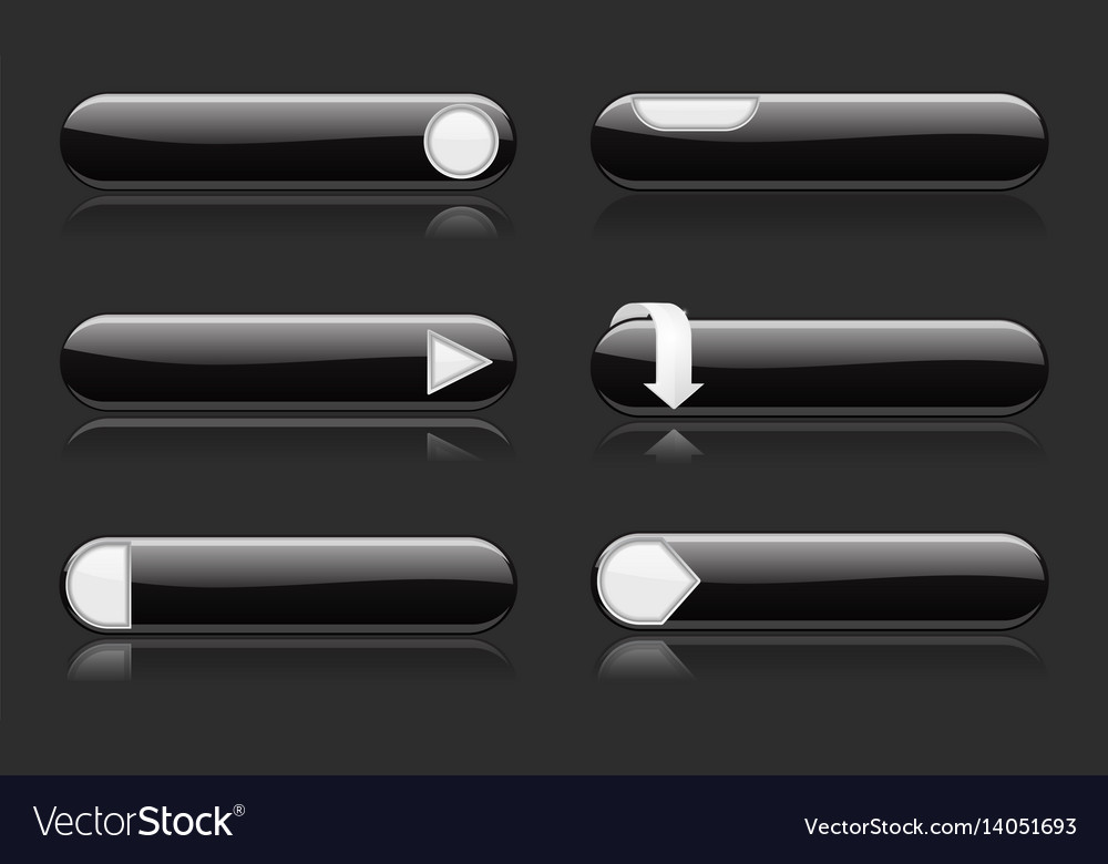 Black buttons with white signs menu interface vector image