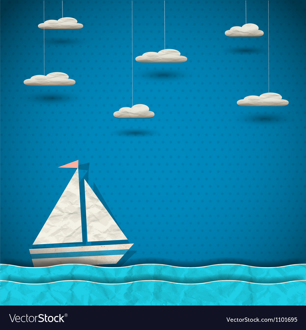 Sailing boat and clouds vector image