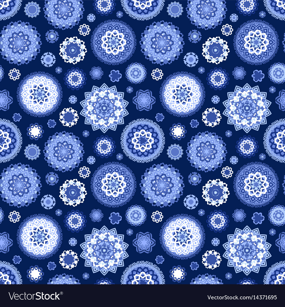 Monochrome blue seamless texture with fancy vector image