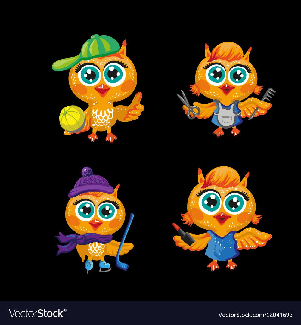 set of cute owls cartoon characters royalty free vector