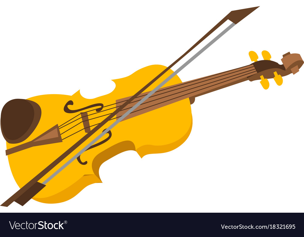 Cartoon Violin Images: Violin With Bow Cartoon Royalty Free Vector Image