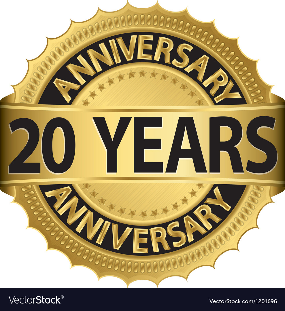 20 years anniversary golden label with ribbon vector image