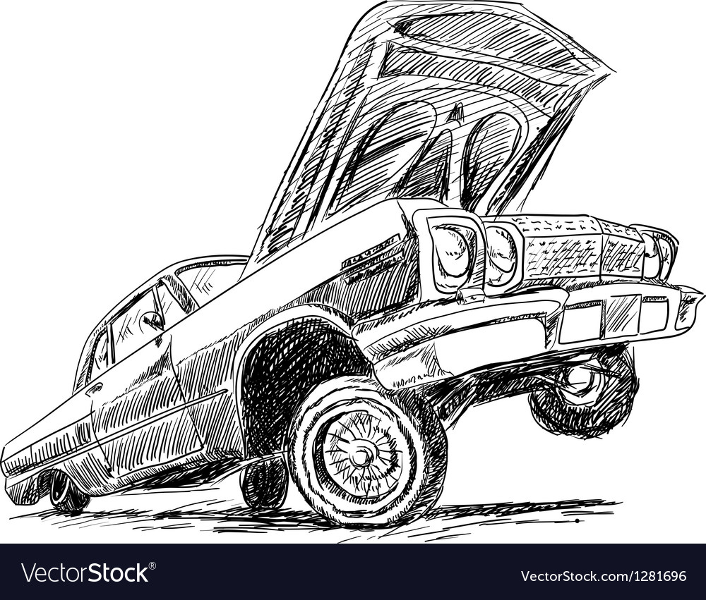 Hydraulic Car Coloring Pages : Lowrider vector imgkid the image kid has it