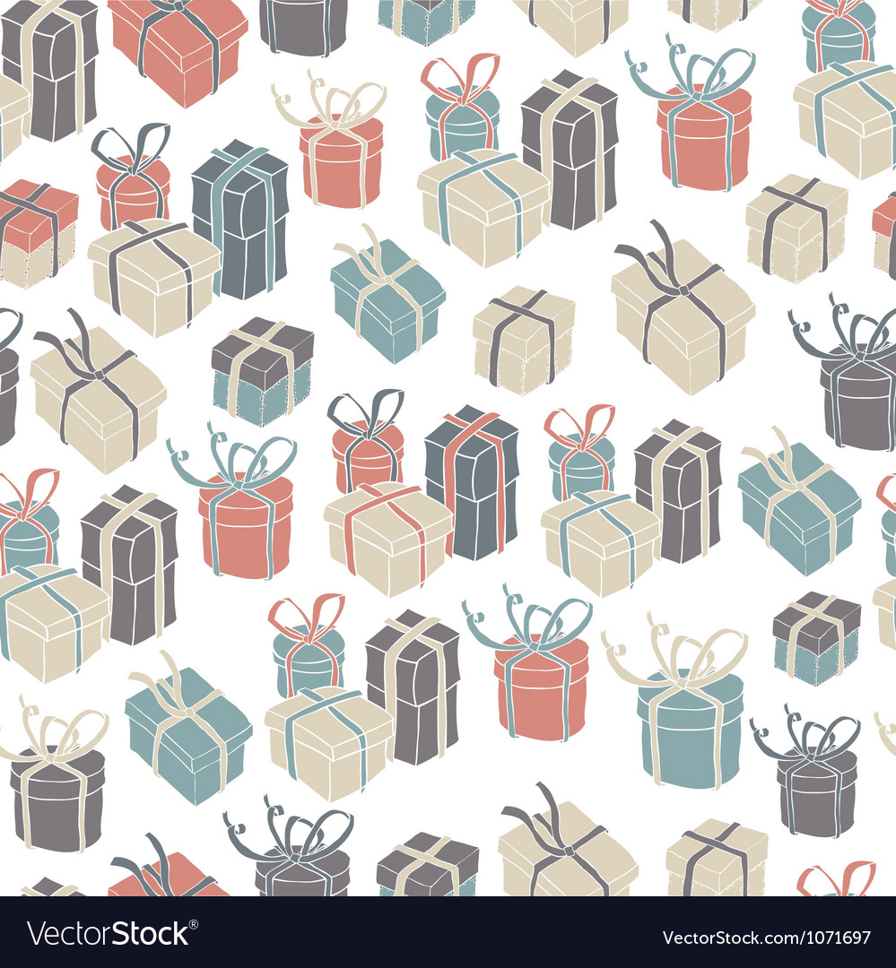 Gift boxes seamless pattern vector image