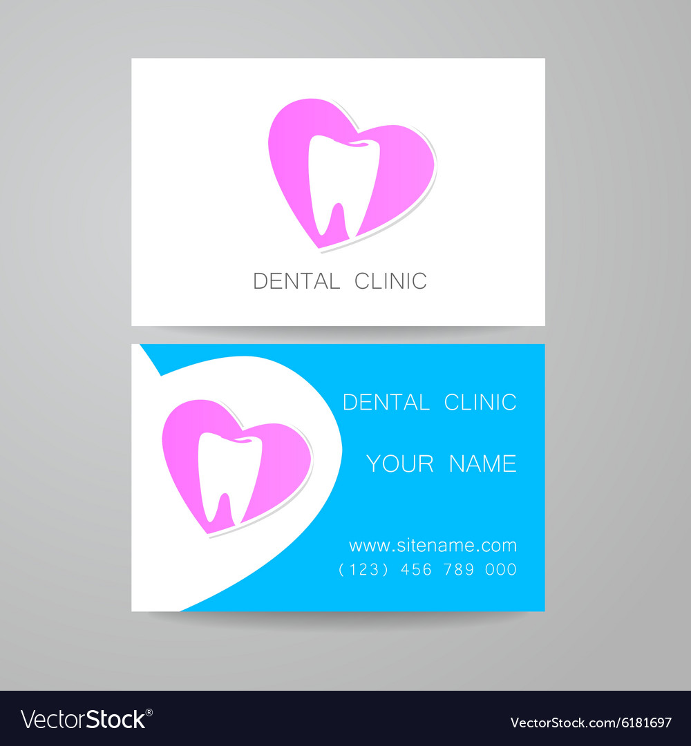 Dental Clinic Logo Business Card Template Vector Image - Dentist business card template