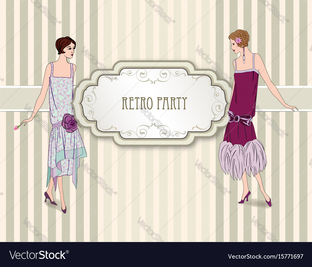 Retro party card fashion woman girls in cocktail vector image