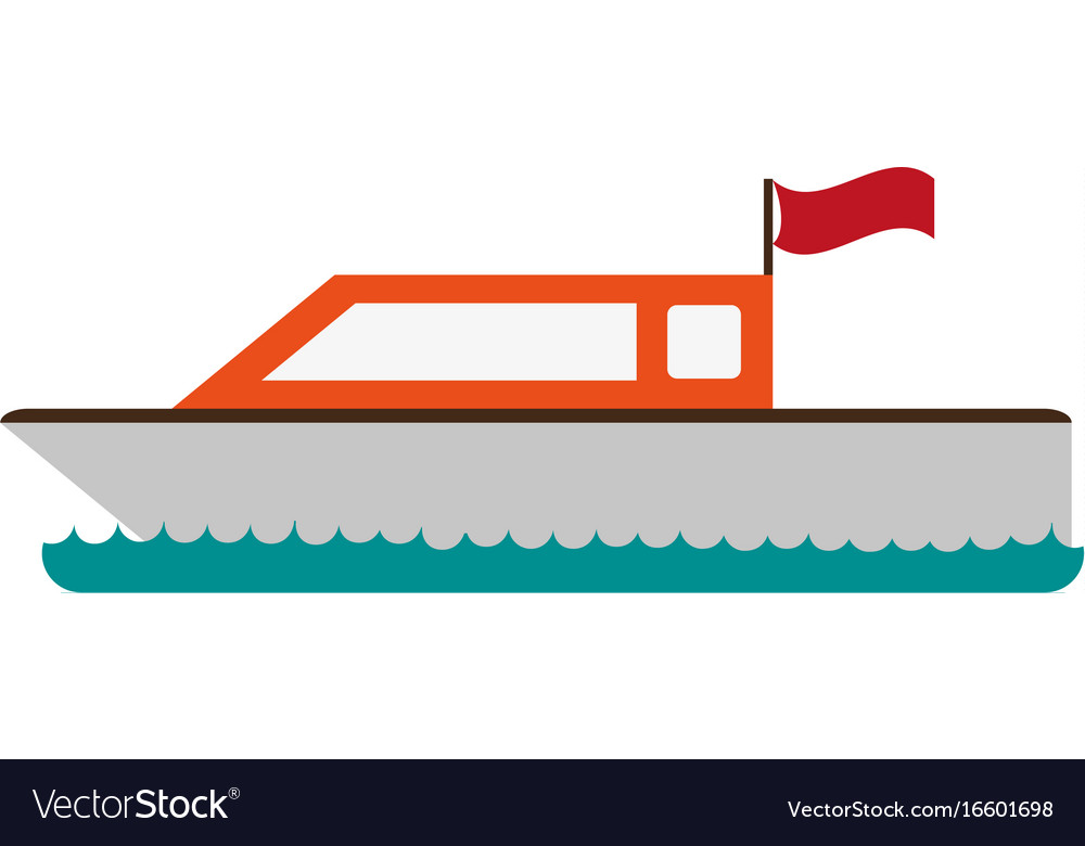 Boat with flag icon image vector image